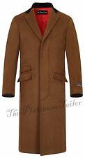 Men Classic Wool Overcoat Velvet Collar Red Lining Long Covert Coat Cromby Mod