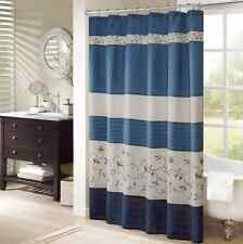 Fabric Shower Curtain Navy Blue Bathroom Decor Polyester Embroidered Home Gifts