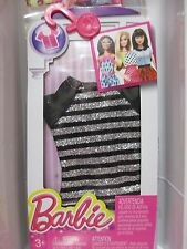 Barbie Doll Clothing FASHIONISTAS ADD ONS! black short sleeve top silver sparkle