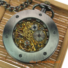 Transparent Open Face Gray Unisex Mechanical Hand Winding Necklace Pocket watch