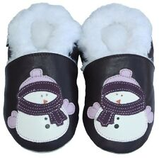 Free Shipping Littleoneshoes Soft Sole Leather Baby Shoes Kids Snowman 6-12M