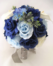 17 pc package Wedding Bouquets Bridal Silk Flowers NAVY blue ROYAL SILVER CALLA