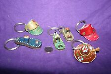 Vintage Mexican Hand Painted Leather Key Chain Hat Sombrero Shoe Lot of 5