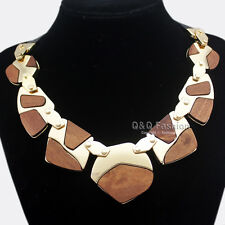 Tribal Gold Aztec Sacred Geometry Wood Leather Hinged Choker Collar Necklace