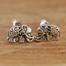 925 Sterling Silver Studs Earrings Antiqued Filigree Elephant Handcraft Gift Box