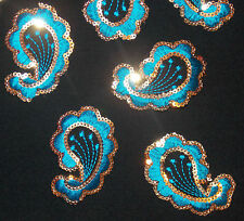 blue paisley sequin asian indian Motif Lace Dance costume hotfix Applique