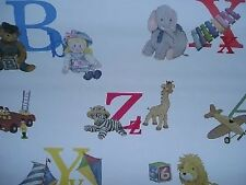 Wallpaper Waverly 577391 Discontinued ABC Primary White Nursery Day Care New