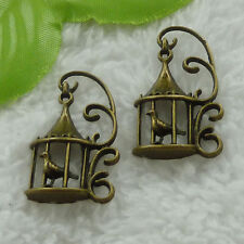 free ship 66 pcs bronze plated birdcage charms 34x20mm #3323