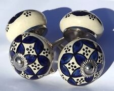 4 x Cream round knobs with Blue pattern and dots drawer door pulls (chrome)