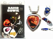 David Bowie 6 Guitar Picks & Pickbay Guitar Pick Holder Necklace Gift Set