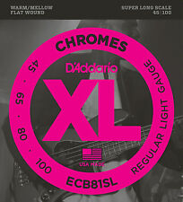 D'addario ECB81SL CHROMES FLATWOUND BASS STRINGS, SUPER LONG SCALE- 45-100