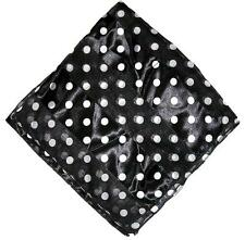 """SCARF Small 20"""" Square White On Black Background POLKA DOTS"""