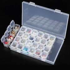 28 Slots Clear Plastic Adjustable Jewelry Storage Box Case Craft Organizer Bead
