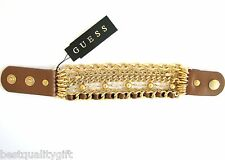 NEW GUESS BROWN+GOLD TONE MULTI-CHAIN+CRYSTAL,RIBBON ADJUSTABLE CUFF BRACELET