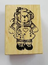 Wood Backed Rubber Stamp Girl Teddy Bear Dress Hat PSX