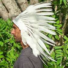 FAST!! Feather Headdress - Native American Indian style War Bonnet - ALL WHITE