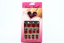 FALSE NAIL EXTENSIONS 24PCS DESIGNER NAILS GLUE INCLUDED RED AND BLACK DESIGN