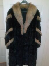 Mink Fur Coat (Brown) with Crystal Fox Accents size L- 10/12