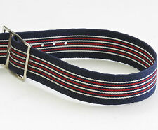 Vintage NOS watch 17.3mm nylon band 1960s red, white & blue with silver buckle