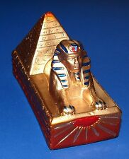 """Sphinx and Pyramid Miniature * Hand-painted Gypsum from Egypt 4.2"""" Long NEW!"""