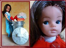 Vintage 2gen Sindy doll with a lot of old clothes and a bin....