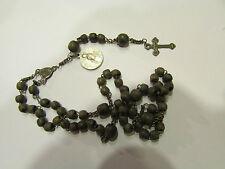 ancien chapelet perles bois crucifix christ croix 5 dizaines religieux