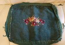 Vintage Completed Needlework Floral Piece for craft or repurpose