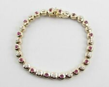 "14K Yellow Gold Diamond And Ruby Tennis Bracelet 7""  1.80 cts"