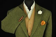 "Vtg Harris Tweed Country Green Tailored Hacking Jacket 46"" #170 EXCELLENT"