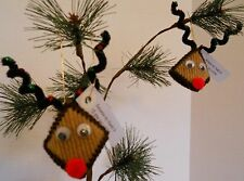 Set Of 2 Reindeer Ornaments Kiss Squeeze My Cheeks Christmas Holiday Decorations