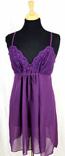 BLOSSOM PURPLE CHIFFON NYLON LACE EMPIRE ELASTIC WAIST BOW LINGERIE NIGHTGOWN L