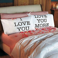 I Love You & Love You More Lovers Pillow Case Cotton Cushion Cover Pillowcases 4