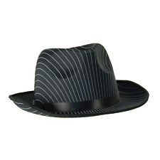 Adulto Negro a Rayas Sombrero Tipo Fedora Trilby Gángster 20S Fancy Dress Costume Prop
