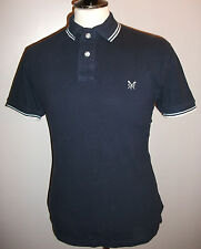 Mens Crew Clothing Designer Small Dark Blue Short Sleeve Casual Polo Shirt Top