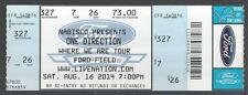 2014 ONE DIRECTION FULL UNUSED CONCERT TICKET @ FORD FIELD IN DETROIT