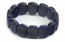 Lapis Lazuli Bracelet Natural Rich Deep Blue Bangle Solid Stretchy Wide Band