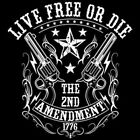Live Free Or Die 2nd Amendment Revolvers Guns Crest Patriotic T-Shirt Tee