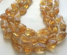 """CITRINE SMOOTH TUMBLE NUGGETS BEADS 15X20MM, 13"""" LONG"""