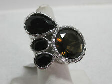 Multi-stone Paw Print Hammered Ring Size 6