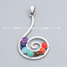 7 Stone Spiral Music Note Healing Chakra Resin Point Bead Charms Pendant