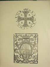 ANTIQUE WOODCUT PRINT ~ ORNAMENTAL FRAME CREST ~ SEAL