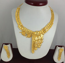 Gold Plated Necklace Earrings set Indian Beautiful Bridal Fashion Jewelry