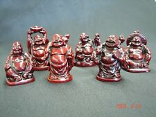 Six Rose Wood Color Little Buddha Statues