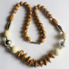 collier bijou vintage grande taille perle bois et résine beige * 5028