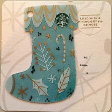 2016 STARBUCKS CHRISTMAS BLUE STOCKING MINI GIFT CARD NO VALUE MINT