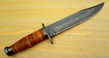 DAMASCUS-STEEL-BLADE-HANDMADE-BOWIE-KNIFE-LEATHER-HANDLE