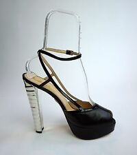 CHARLOTTE OLYMPIA Open Toe Ankle Strap Platform Heels Black Silver Pumps Size 41