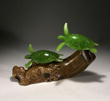 "SEA TURTLE Sculpture New from JOHN PERRY 9in high ""JADE"" Statue on Wood"