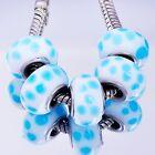 5Pcs Murano Glass Blue Lampwork Bead Marching Silver European Bracelet