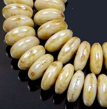 50 Czech Glass Rondelle Beads - Opaque Luster - Picasso 6x2mm